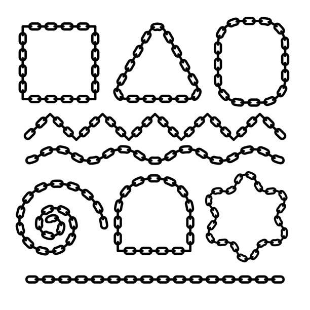 bildbanksillustrationer, clip art samt tecknat material och ikoner med kedja platt ram monokrom design för att skapa ramar, avdelare med hörn och ändar. metallisk symbol för säkerhet, anslutning, säkerhet. svart oval länkar för styrka, skydd eller tillhörighet koncept. - chain studio