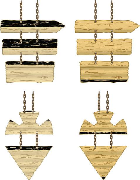 ketten hängen holz richtung schild - buchenholz stock-grafiken, -clipart, -cartoons und -symbole