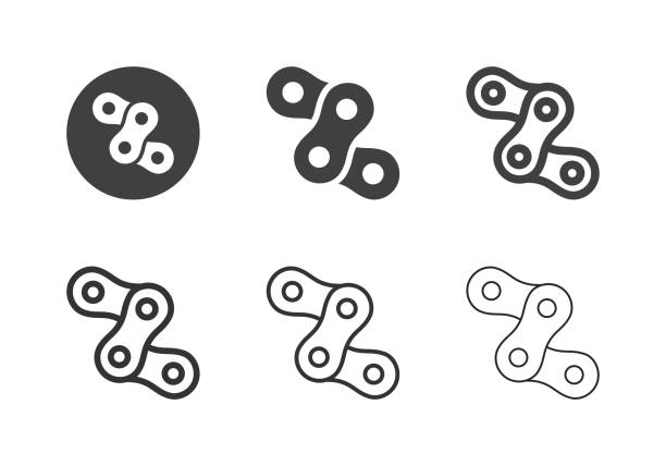 Chain Icons - Multi Series Chain Icons Multi Series Vector EPS File. bicycle chain stock illustrations