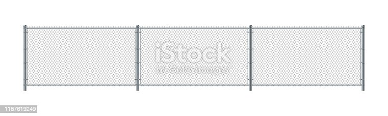 Chain link fence. Metal Wire Fence. Wire grid construction steel security and safety wall. Isolated on white background.