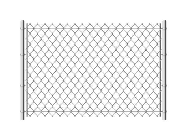 stockillustraties, clipart, cartoons en iconen met hek van de ketting verbinding. realistische metalen gaas hekken draad bouwstaal veiligheid muur industriële grens metallic textuur, vector patroon - fence