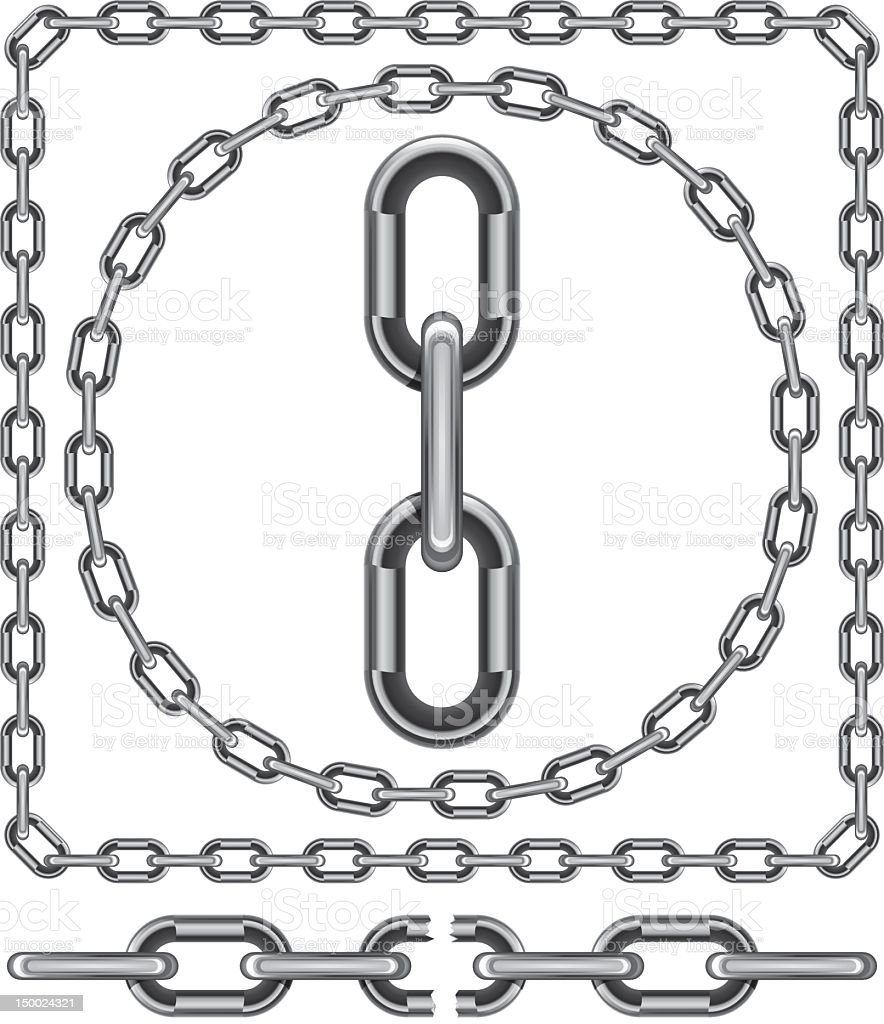 Chain links in a square and a circle isolated on white vector art illustration