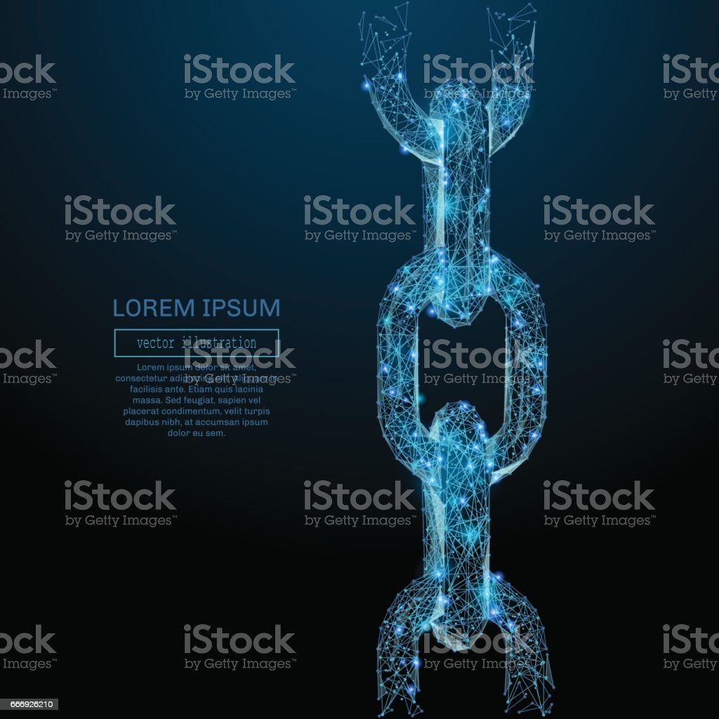 Chain links low poly blue vector art illustration