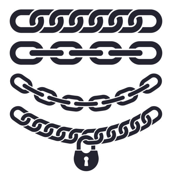 Chain Links Chains and security chain link connection symbols. lockout stock illustrations