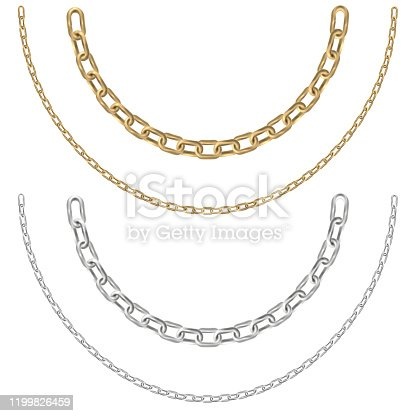 Gold and silver chain necklaces on a white background