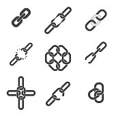 Chain or link icons set