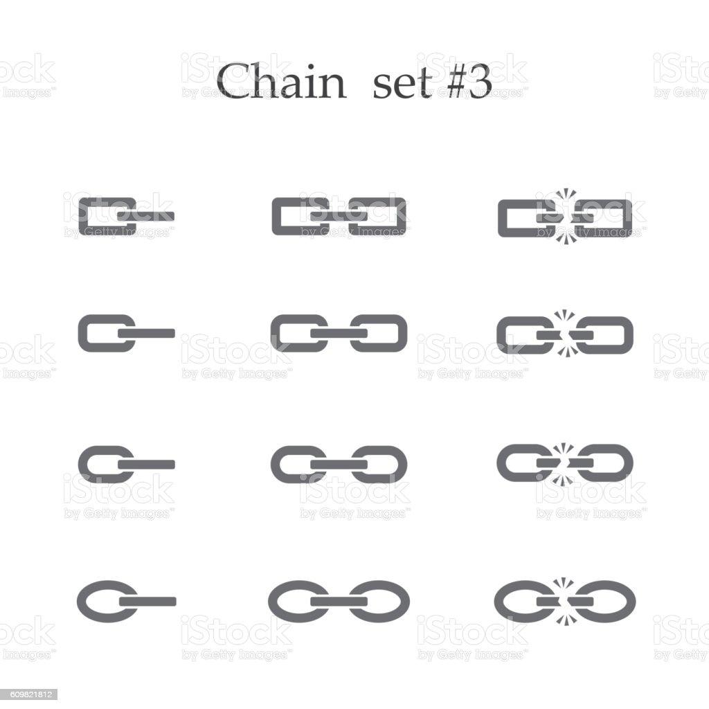 Chain set three vector art illustration