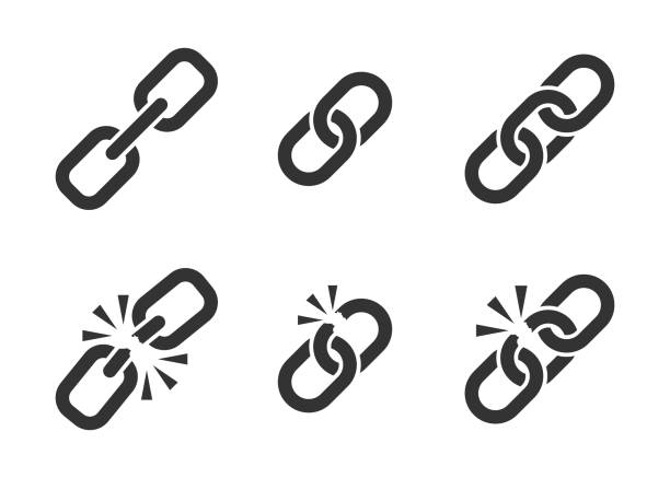 Chain sign set collection icon in flat style. Link vector illustration on white isolated background. Hyperlink business concept. Chain sign set collection icon in flat style. Link vector illustration on white isolated background. Hyperlink business concept. weakness stock illustrations