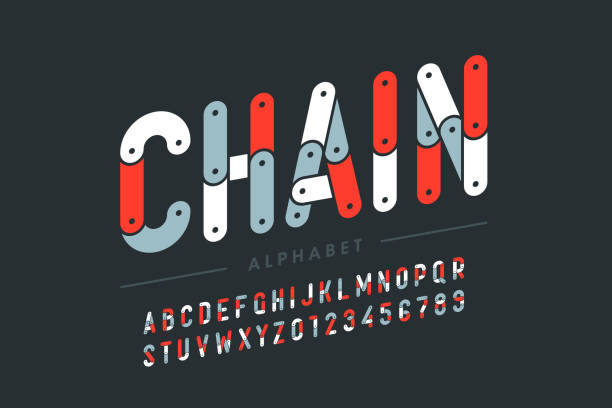 Chain style font Chain style font design, alphabet letters and numbers vector illustration bicycle chain stock illustrations