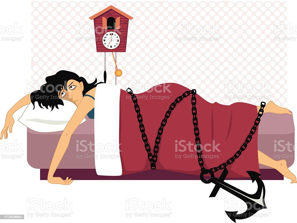 Chained to a bed vector art illustration