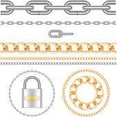 Chains and padlock. All elements on separate layers and groups. Vector illustration.