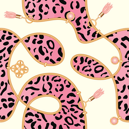 Chains seamless background with pink leopard skin pattern. Fashion jewelry print for textile, scarf, cravat design. Vector