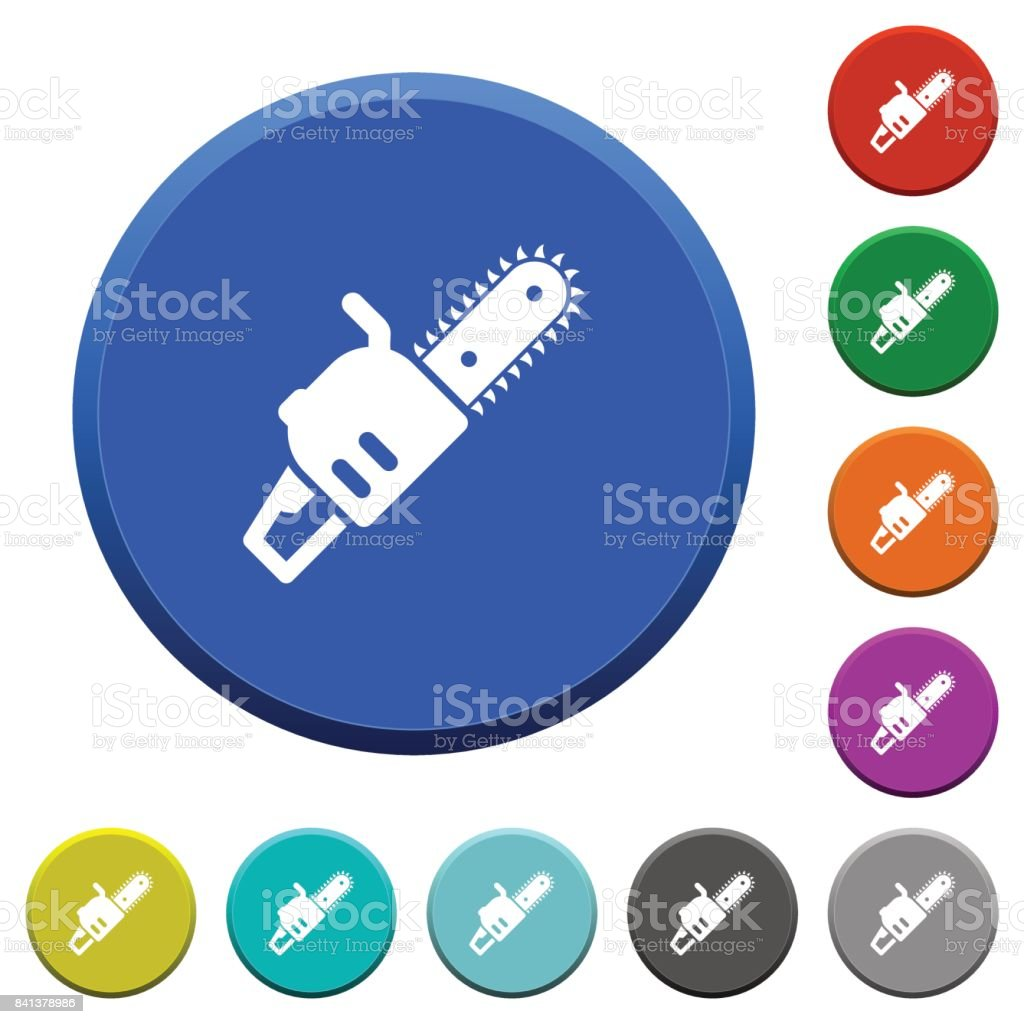 Chainsaw beveled buttons vector art illustration