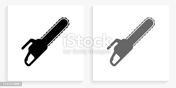 Chainsaw Black and White Square Icon. This 100% royalty free vector illustration is featuring the square button with a drop shadow and the main icon is depicted in black and in grey for a roll-over effect.