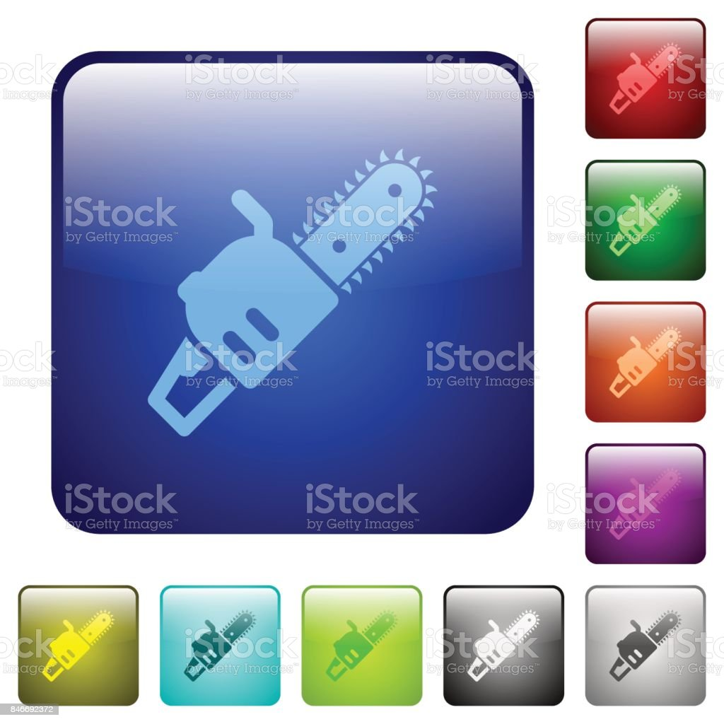 Chainsaw color square buttons vector art illustration