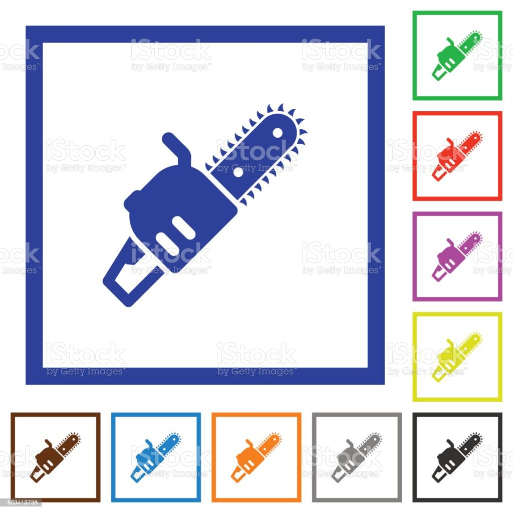 Chainsaw flat framed icons vector art illustration