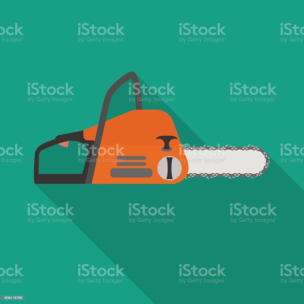 Chainsaw flat icon. vector art illustration