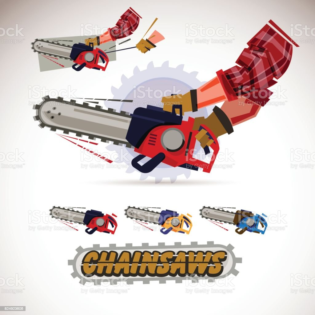 Chainsaw holding by male arms . hand pulling sling to start engine. set of chainsaws with typographic design- vector vector art illustration