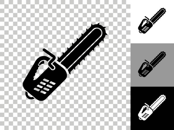 Chainsaw Icon on Checkerboard Transparent Background vector art illustration