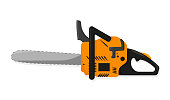 Chainsaw in flat style on white background