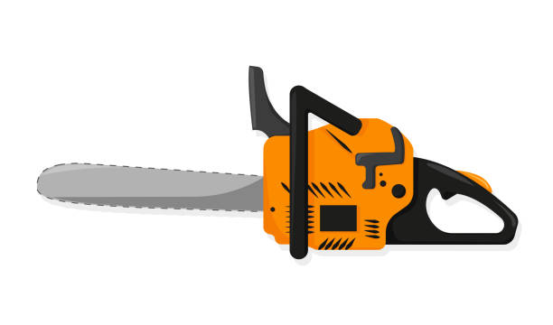 Chainsaw in flat style on white background Chainsaw in flat style on white background, vector electric saw stock illustrations
