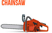 Chainsaw isolated on white background. Vector