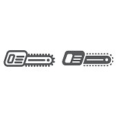 Chainsaw line and glyph icon, tool and equipment, electric saw sign, vector graphics, a linear pattern on a white background.