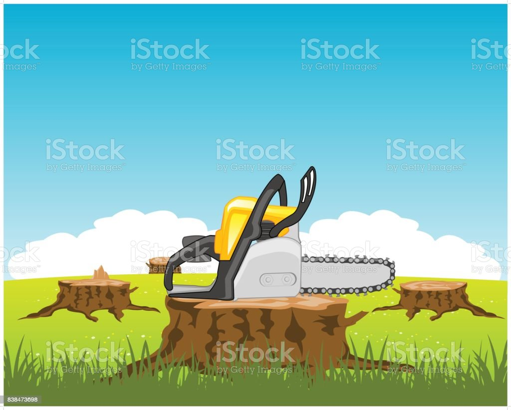 Chainsaw on stump tree vector art illustration