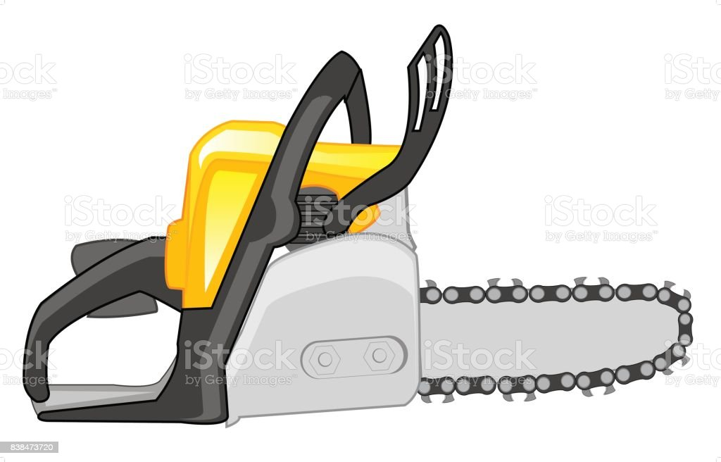 Chainsaw on white background vector art illustration