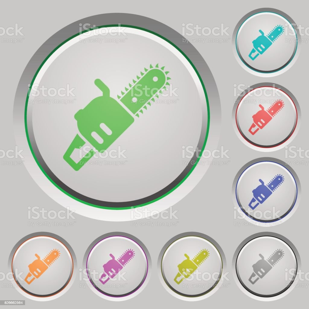 Chainsaw push buttons vector art illustration