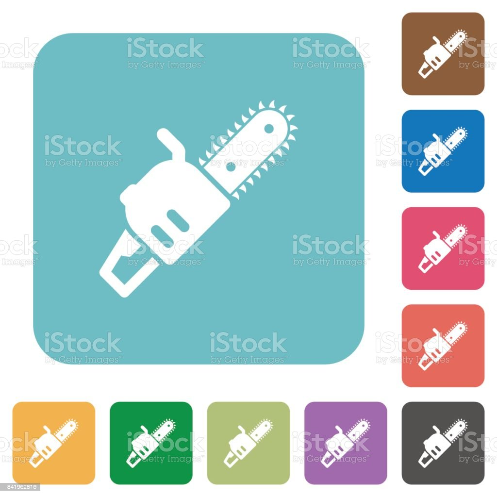 Chainsaw rounded square flat icons vector art illustration