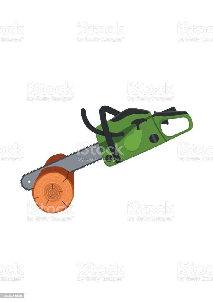 Chainsaw sawing wood tree isolated on white background. Professional instrument, working tool. Petrol chain saw vector art illustration