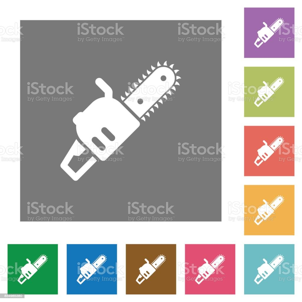 Chainsaw square flat icons vector art illustration