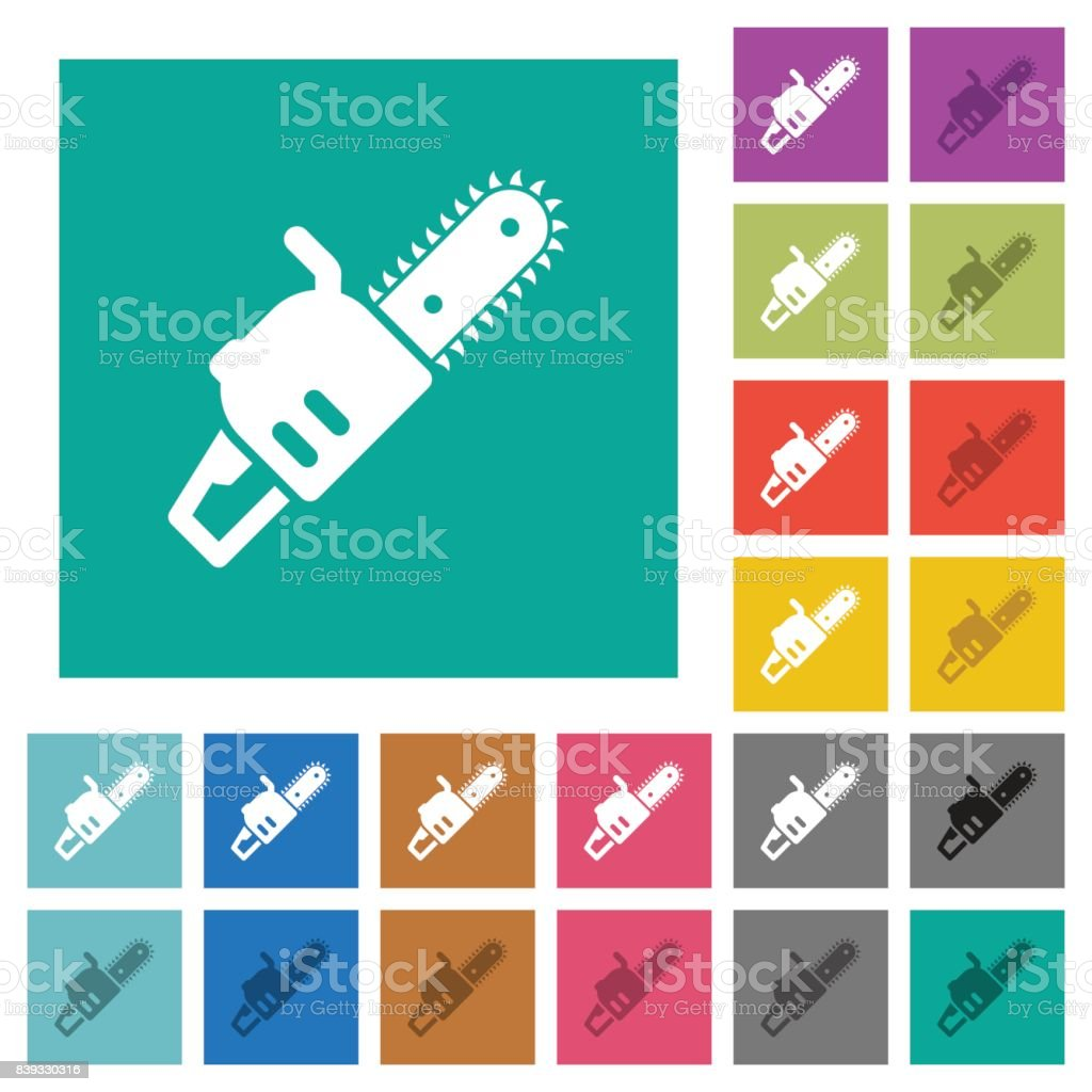 Chainsaw square flat multi colored icons vector art illustration