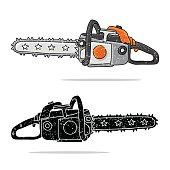 Chainsaw. Vector illustration