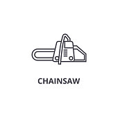 chainsaw vector line icon, sign, illustration on background, editable strokes