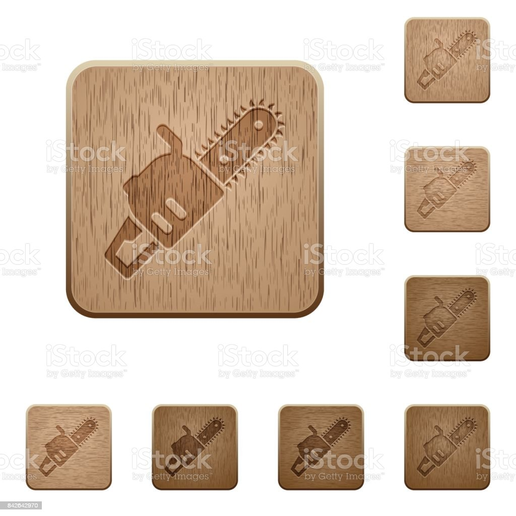 Chainsaw wooden buttons vector art illustration