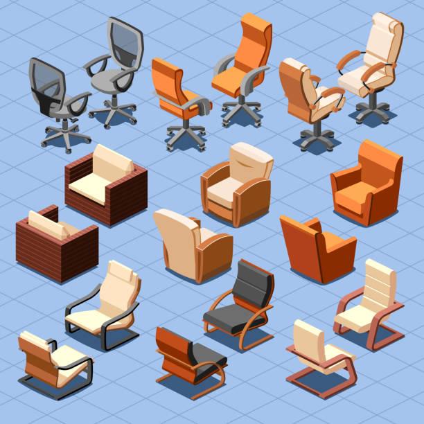 stuhl und sessel isometrische vektor-set - stuhllehnen stock-grafiken, -clipart, -cartoons und -symbole