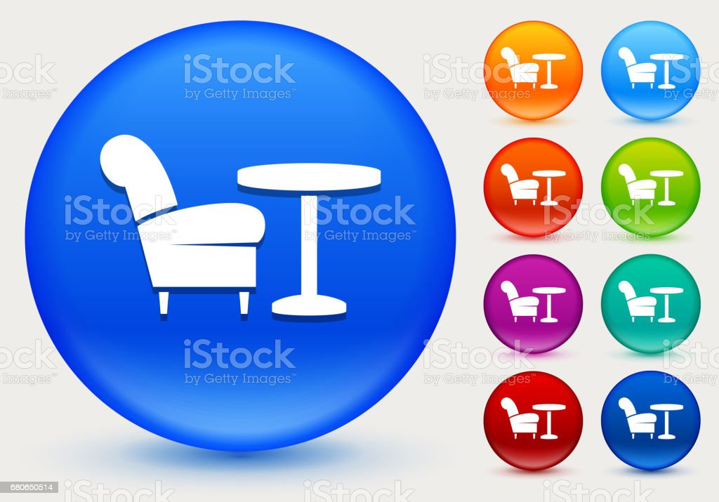 Chair and Coffee Table Icon on Shiny Color Circle Buttons