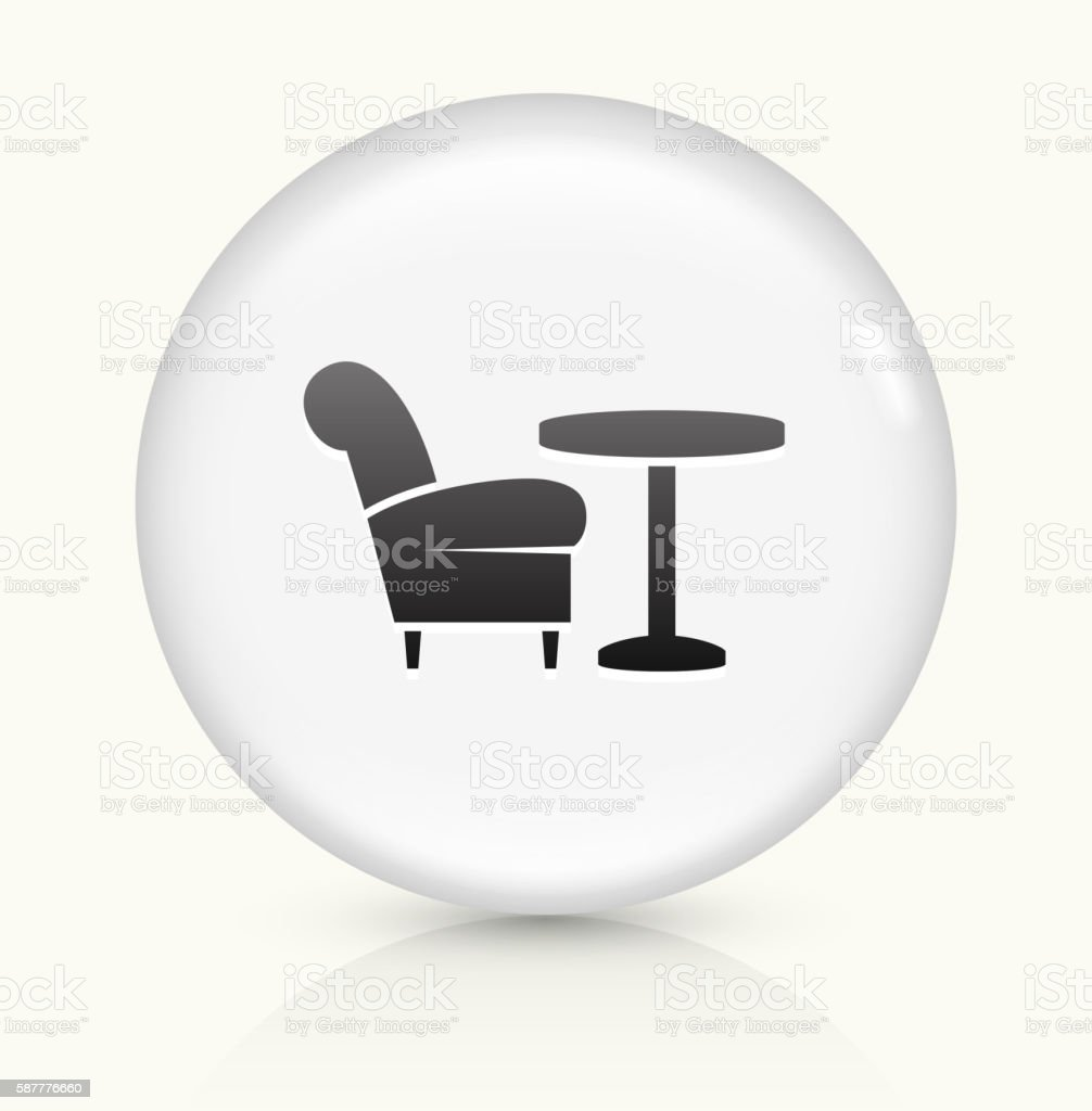 chair and coffee table icon on white round vector button stock