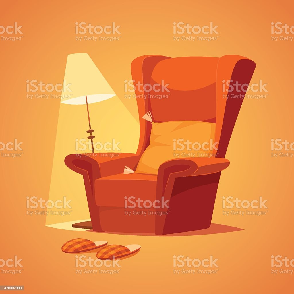 Chair and lamp vector art illustration