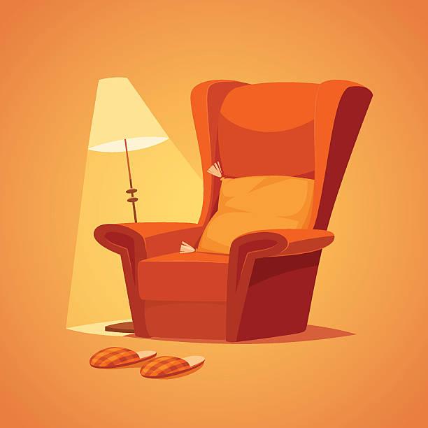 ilustraciones, imágenes clip art, dibujos animados e iconos de stock de lámpara y silla ergonómica - comfortable
