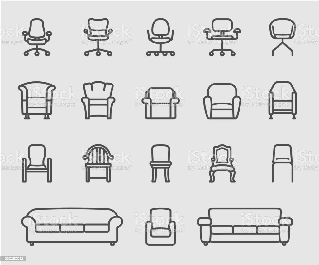 Chair And Sofa Of Front View Line Icon Stock Vector Art More