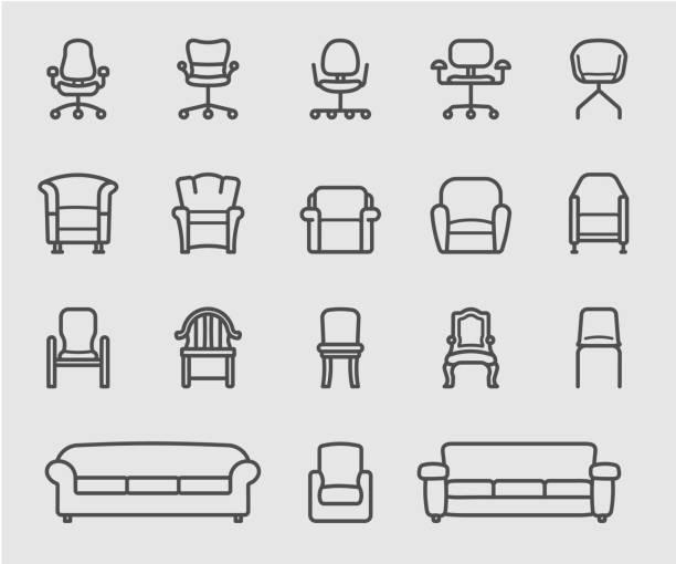 ikona krzesła i sofy z linii frontu - krzesło stock illustrations