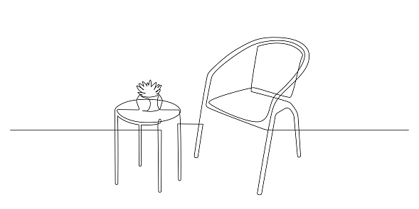 Chair and table with home plant in Continuous one line drawing. Interior living room with furniture in simple linear style. Editable stroke. Doodle Vector illustration