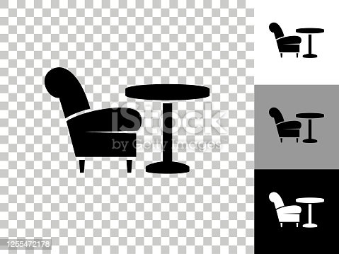 istock Chair & Coffee Table Icon on Checkerboard Transparent Background 1255472178
