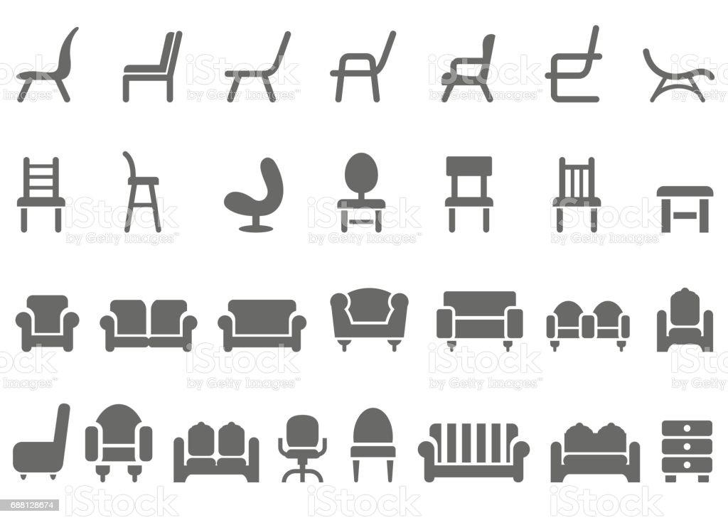 Chair icon set vector art illustration