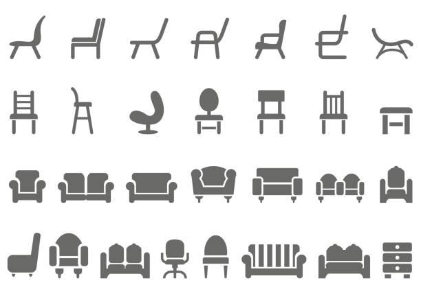 bildbanksillustrationer, clip art samt tecknat material och ikoner med stol ikonuppsättning - stol