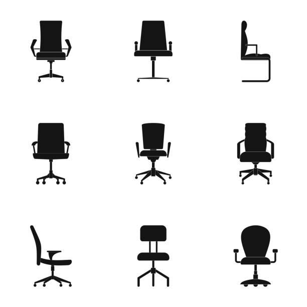 stuhl icons set, einfachen stil - schultischrenovierung stock-grafiken, -clipart, -cartoons und -symbole