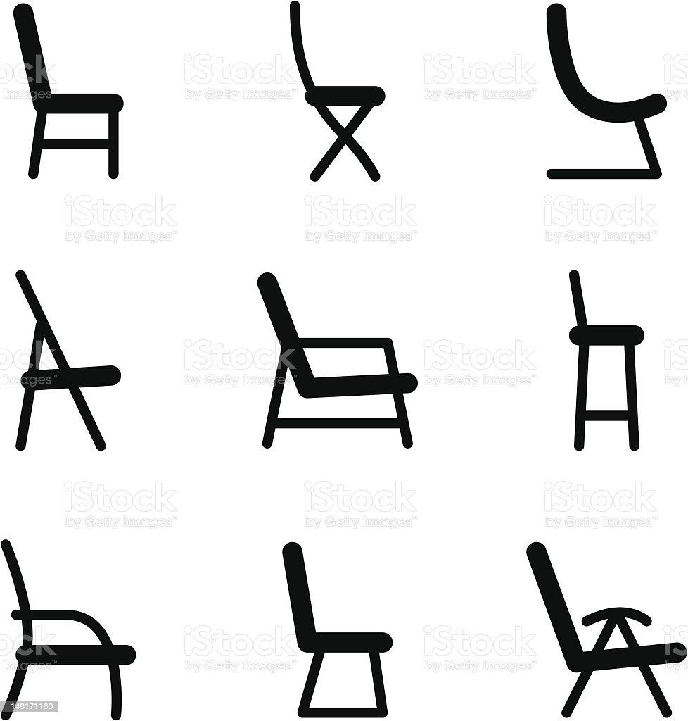 Chair icons vector art illustration